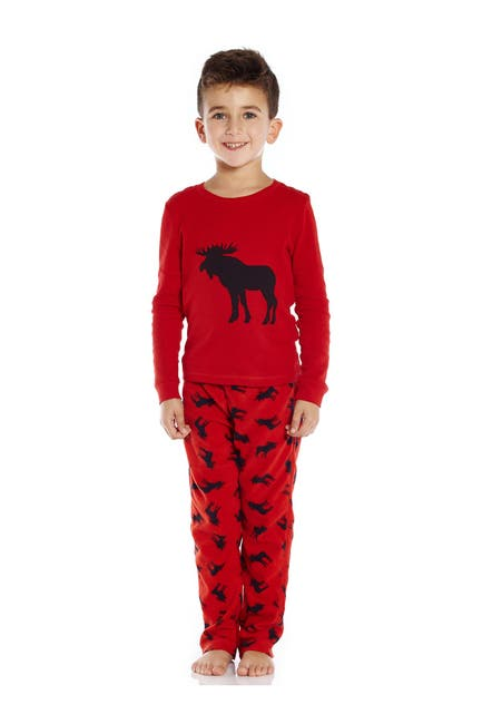 Image of Leveret Red Moose 2-Piece Pajama Set
