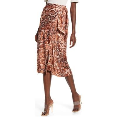 J.o.a. Snake Print Wrap Skirt, Brown