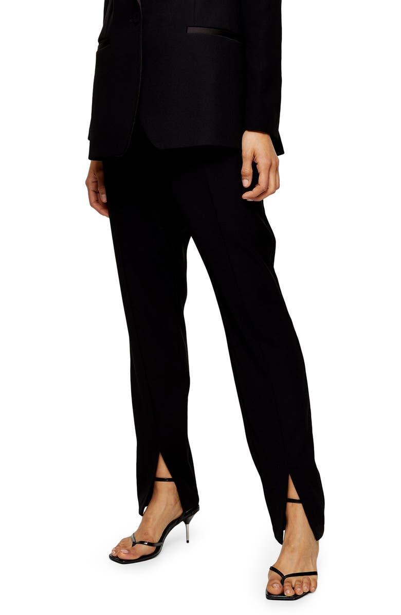 TOPSHOP Split Cigarette Trousers, Main, color, BLACK