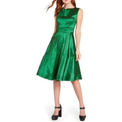 Modcloth Taffeta Fit & Flare Dress, Green