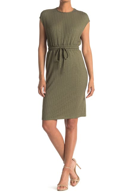 Image of Maggy London Cap Sleeve Tie Waist Ribbed Dress