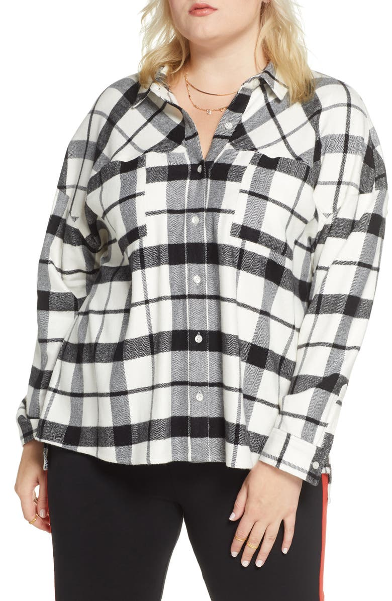 BP. x Claudia Sulewski Oversized Flannel Shirt, Main, color, 900