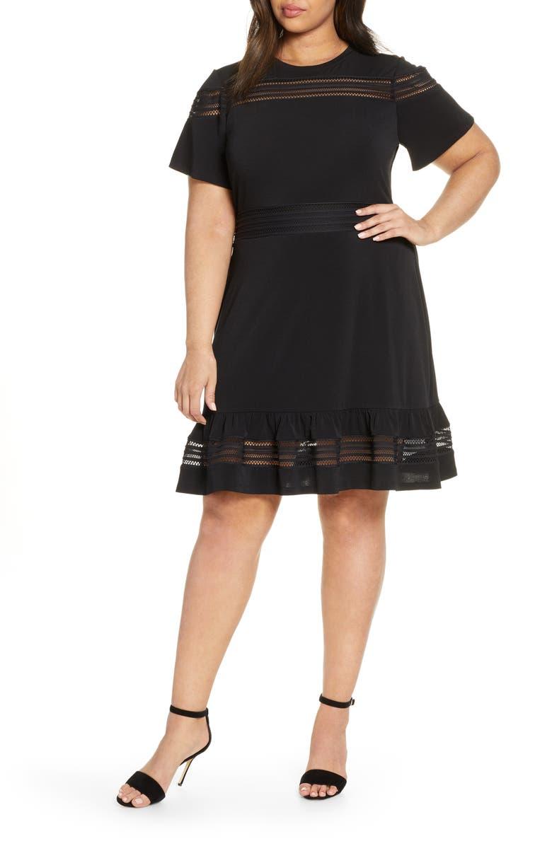 MICHAEL MICHAEL KORS Open Stitch Inset Dress, Main, color, 001