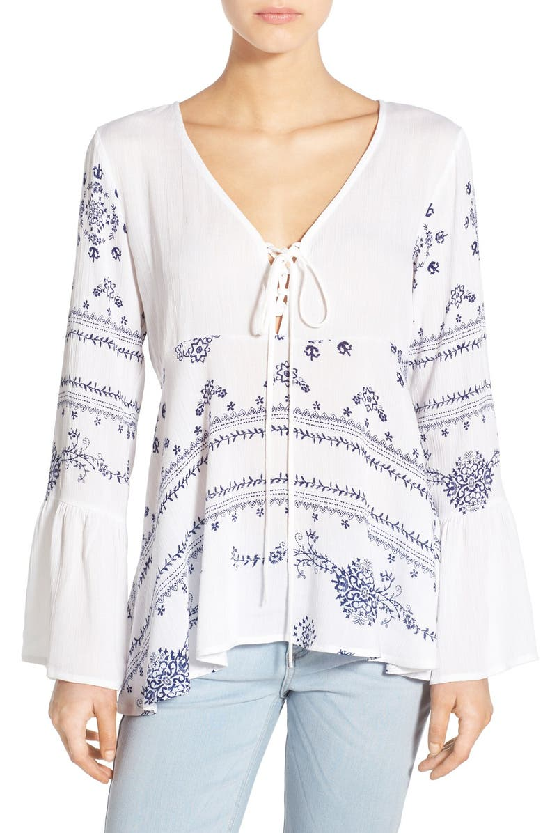 BP. Print Lace-Up Peasant Top, Main, color, 100