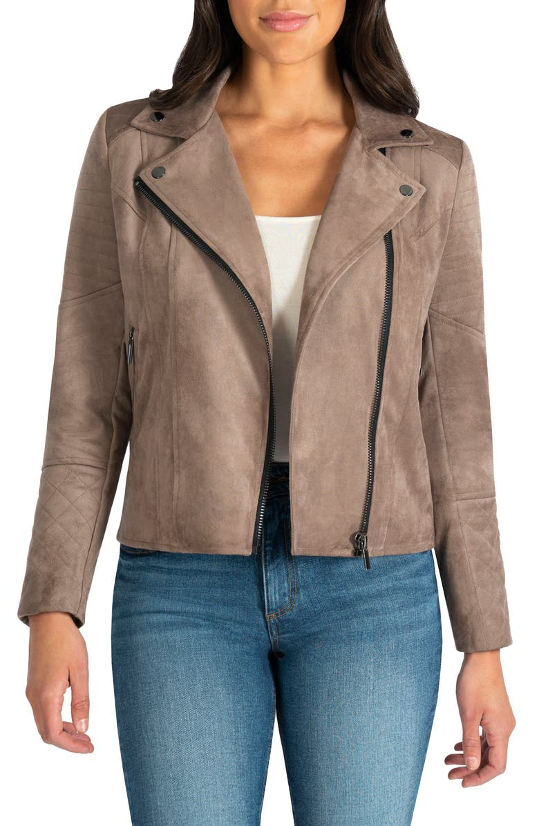 KUT FROM THE KLOTH Quilted Panel Faux Suede Moto Jacket, Main, color, BUFF