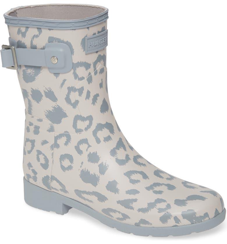 HUNTER Original Leopard Print Refined Short Waterproof Rain Boot, Main, color, 094