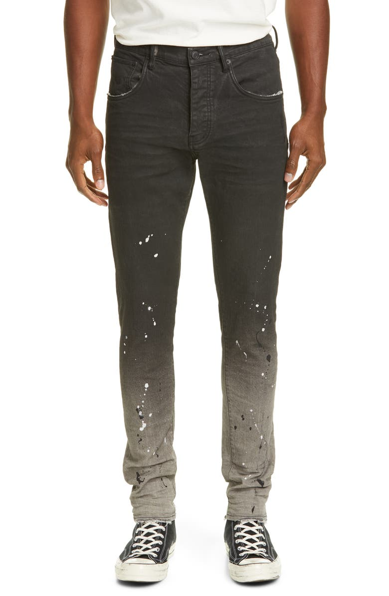 PURPLE Dropped Fit Jeans, Main, color, BLEACHED BLACK RAW