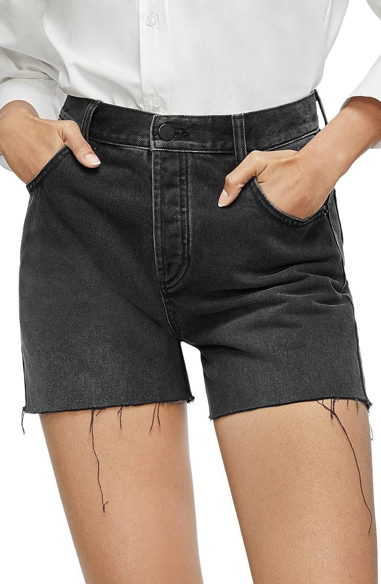 ANINE BING Bonnie Raw Hem Cutoff Denim Shorts, Main, color, CHARCOAL