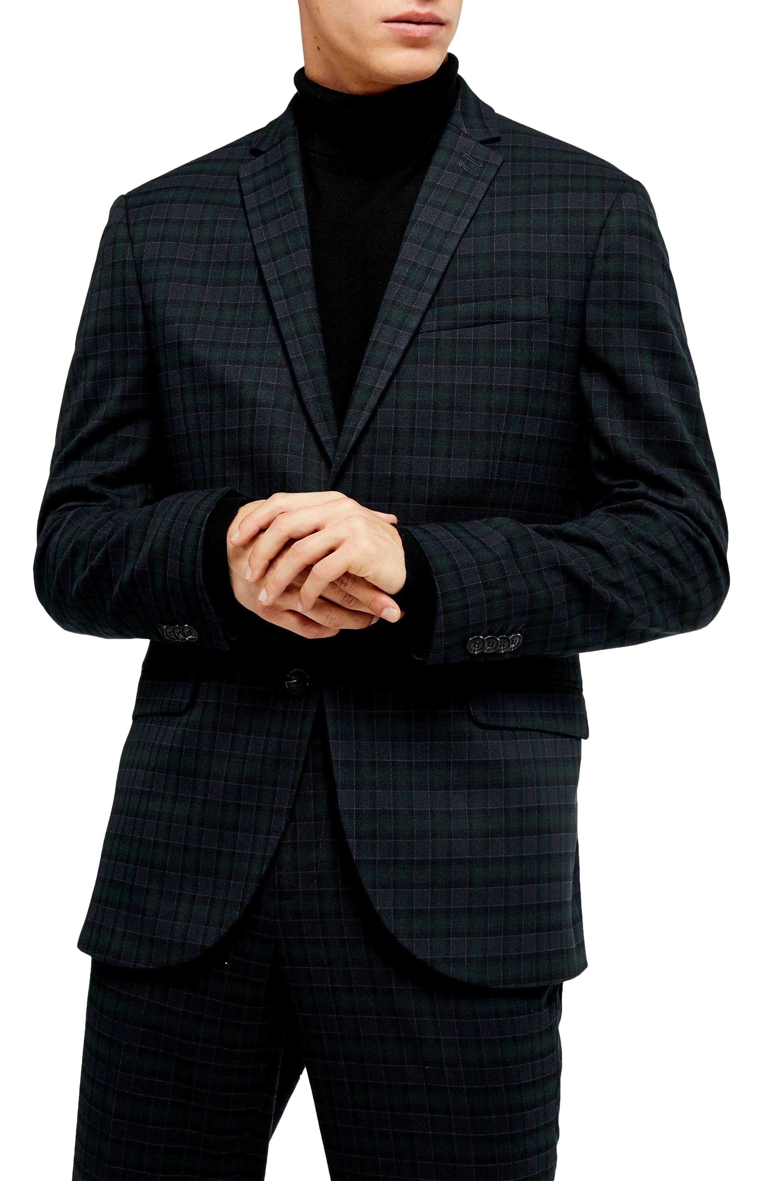 1960s Mens Suits | 70s Mens Disco Suits Mens Topman Bampton Check Skinny Fit Suit Jacket $97.50 AT vintagedancer.com