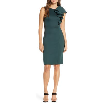 Eliza J Ruffle Scuba Sheath Dress
