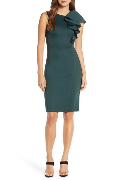Eliza J Dresses RUFFLE SCUBA SHEATH DRESS