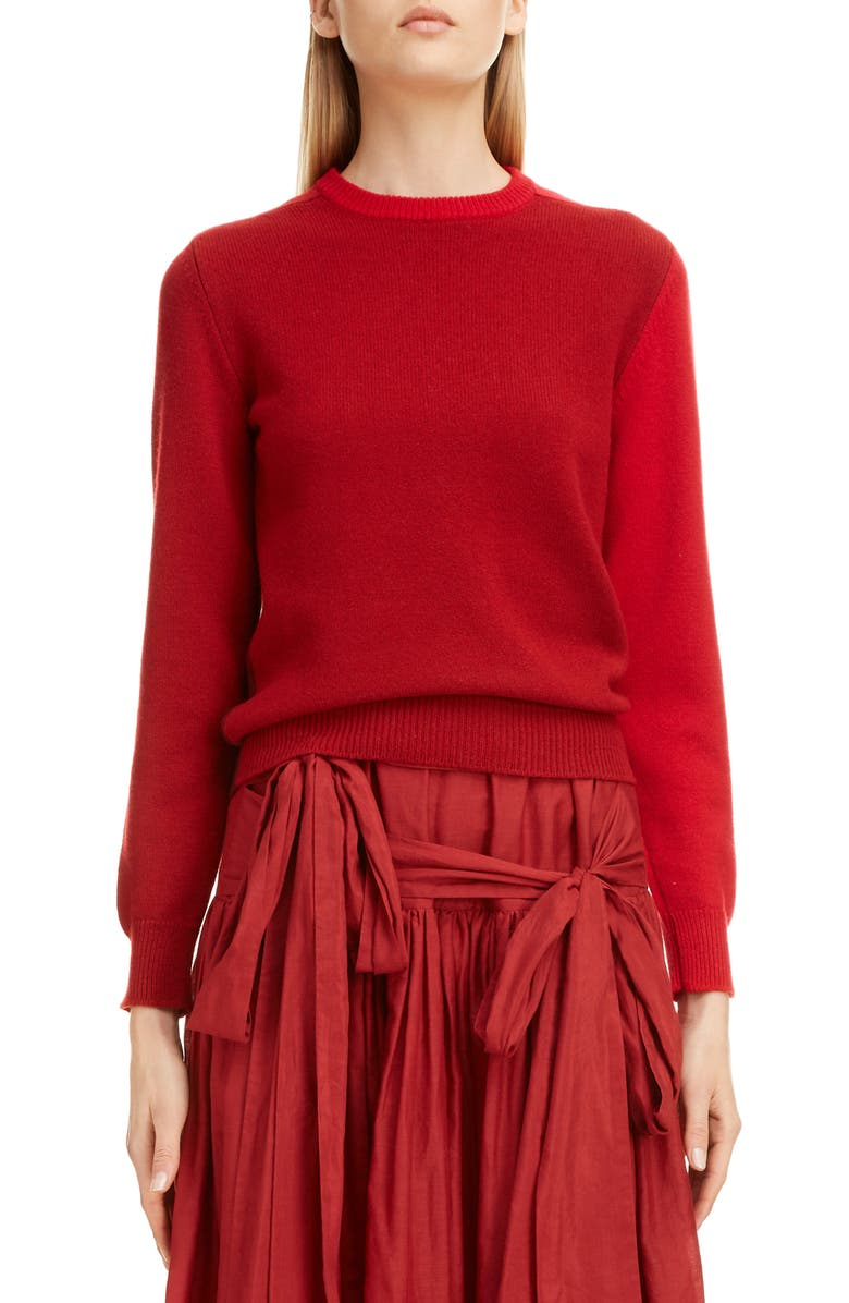 SARA LANZI Colorblock Wool & Cashmere Sweater, Main, color, RED BLOCK
