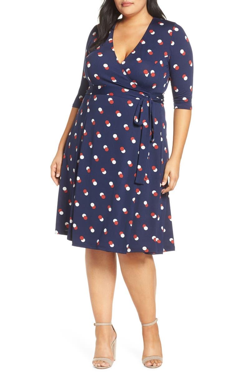 KIYONNA Essential Wrap Dress, Main, color, NAVY DOT DUO