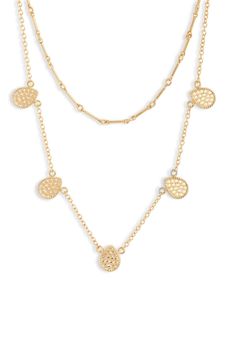 ANNA BECK Ribbed Double Layer Necklace, Main, color, GOLD