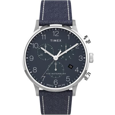 Timex Waterbury Classic Chronograph Leather Strap Watch, 40Mm