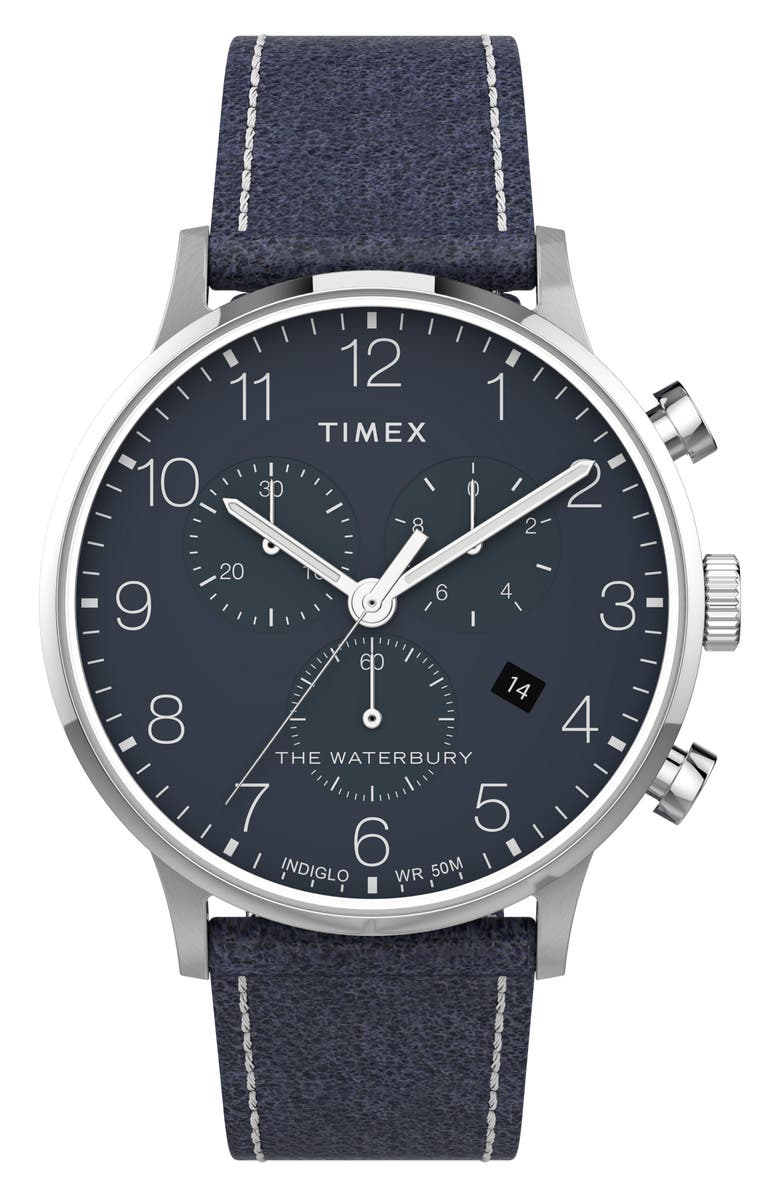 TIMEX<SUP>®</SUP> Waterbury Classic Chronograph Leather Strap Watch, 40mm, Main, color, BLUE/ SILVER