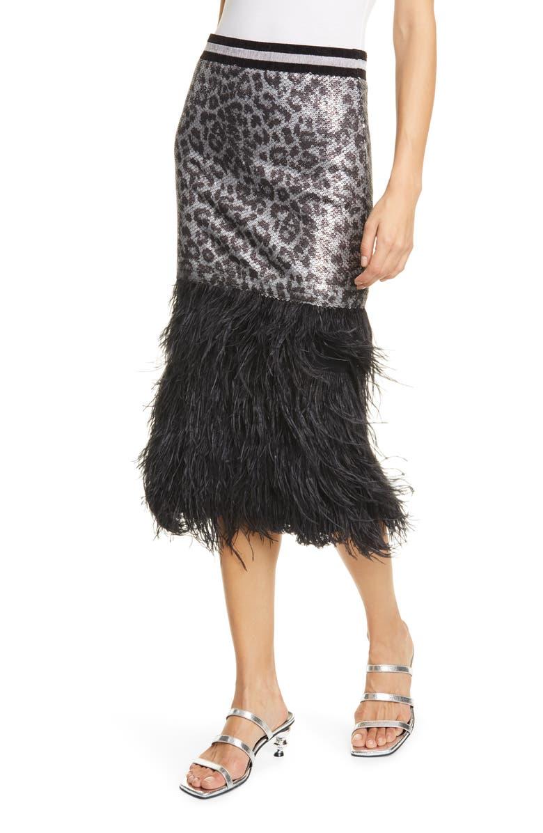 LE SUPERBE Marmont Sequin Leopard Print & Ostrich Feather Skirt, Main, color, STRWD SPOT SEQN