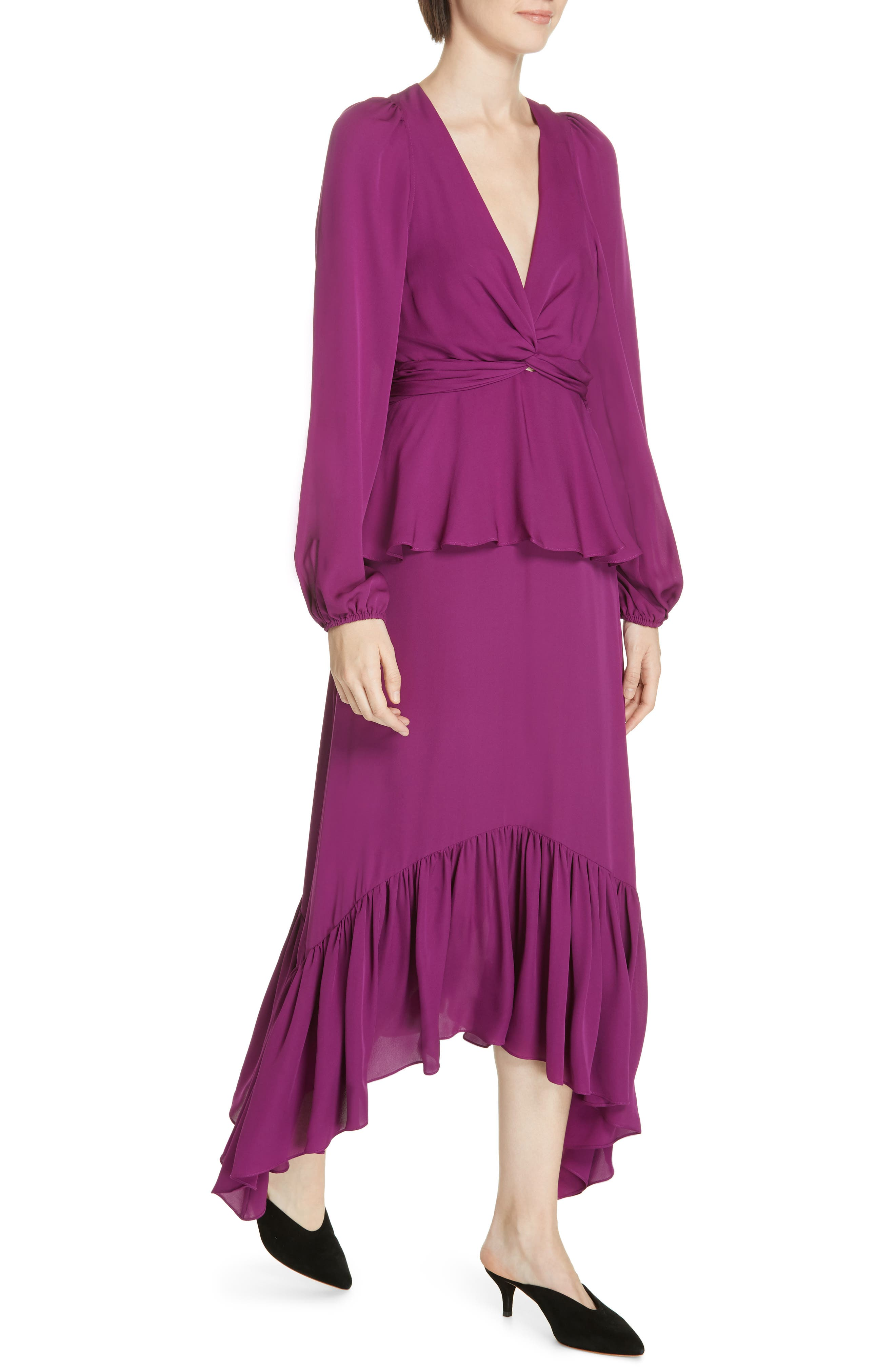 ,                             Stanwyck Ruffle Silk Dress,                             Alternate thumbnail 5, color,                             500