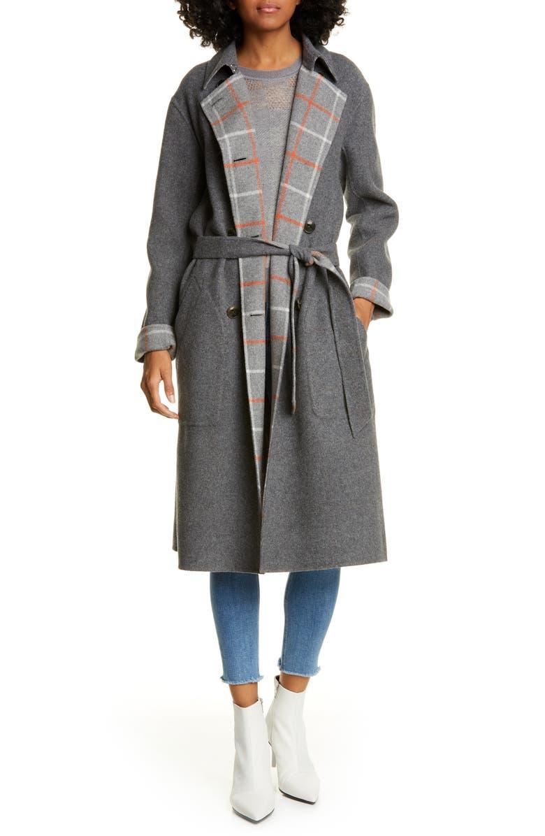 RAG & BONE Rach Reversible Wool Blend Car Coat, Main, color, GREY