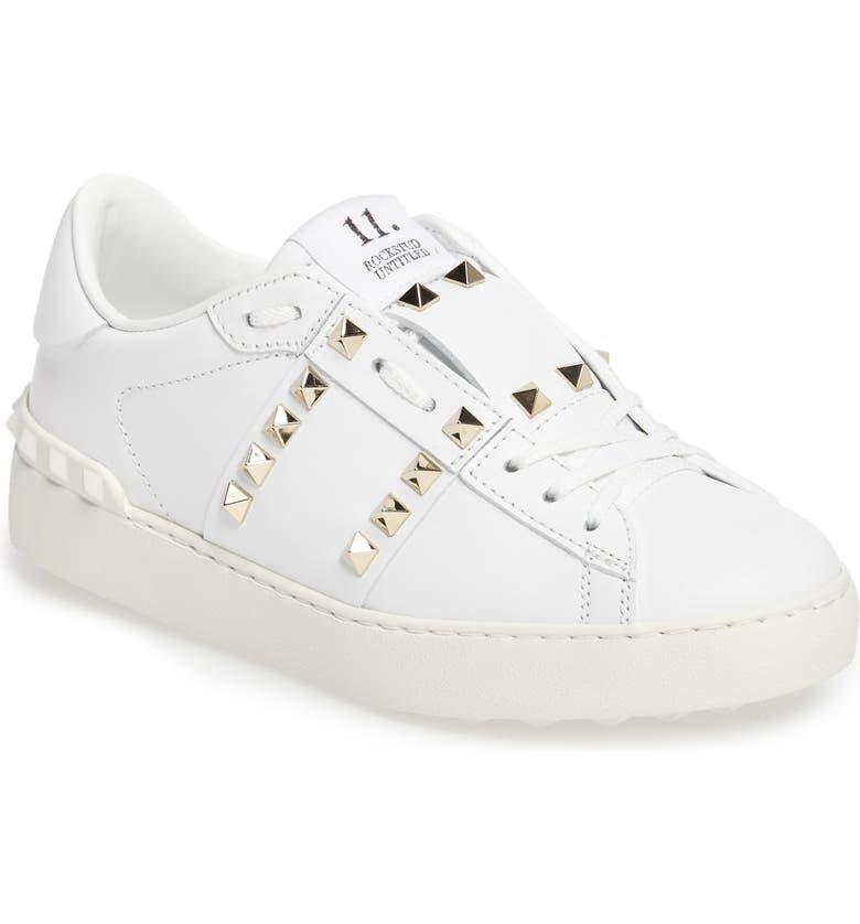VALENTINO GARAVANI Rockstud Sneaker, Main, color, WHITE LEATHER