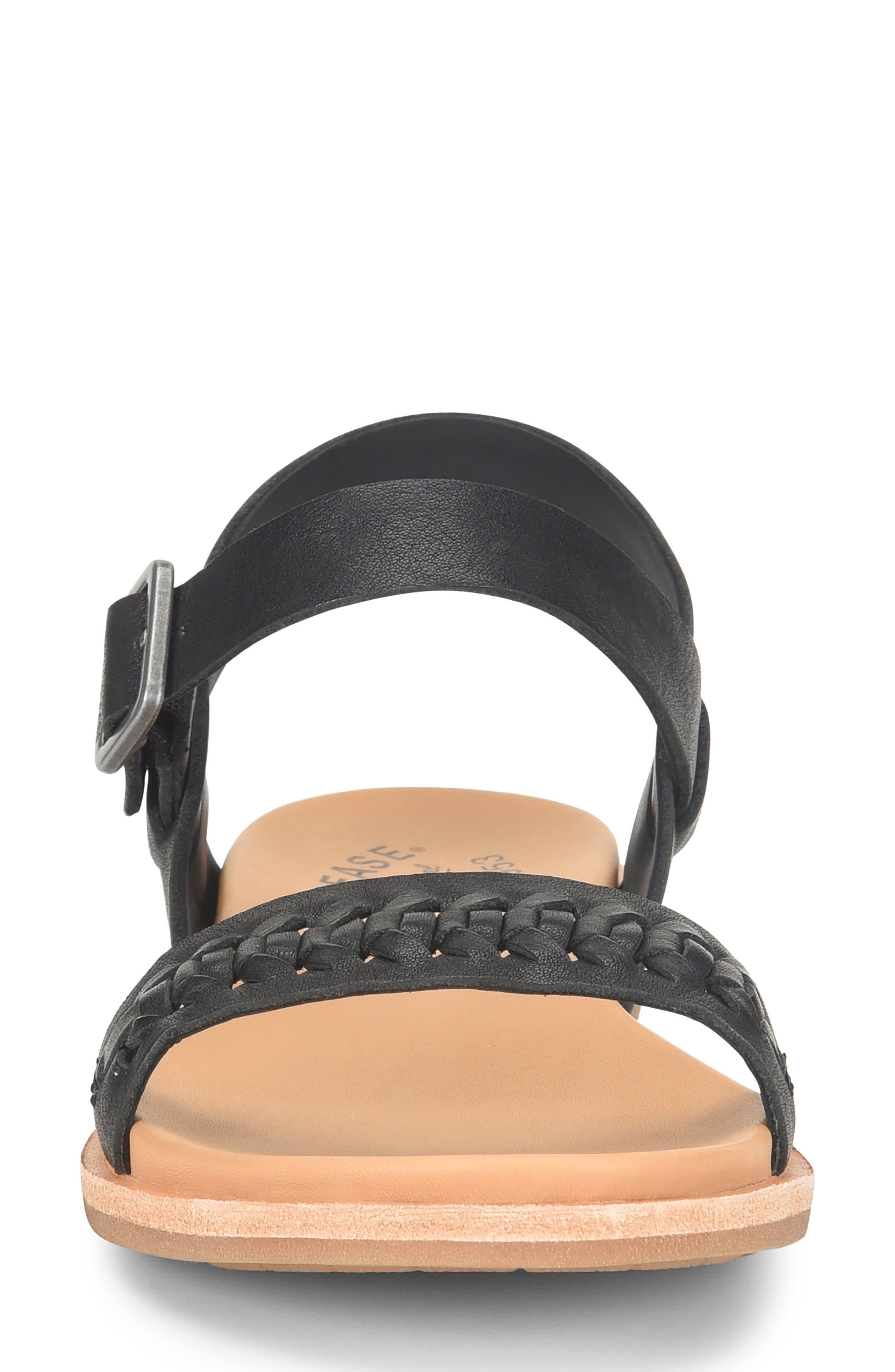 ,                             Yucca Braid Sandal,                             Alternate thumbnail 4, color,                             BLACK LEATHER