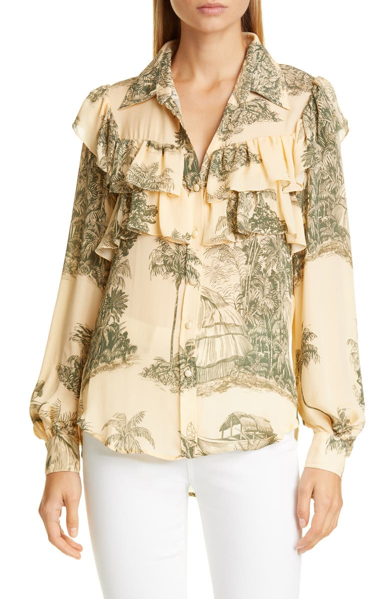 JOHANNA ORTIZ Toile Palm Print Ruffle Silk Georgette Blouse, Main, color, MILITARY GREEN/ ECRU