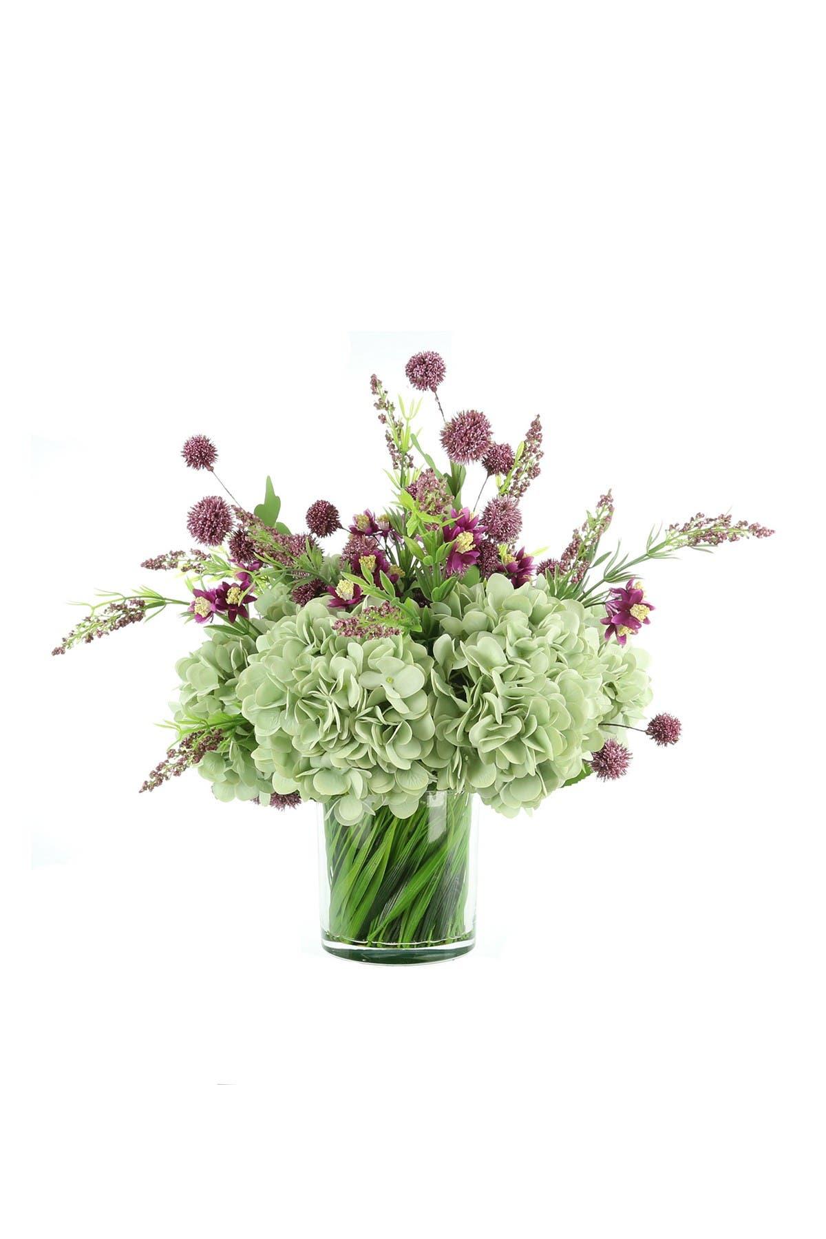 "Image of Willow Row Flower Arrangement w/ Mauve Pompom Balls, Teal Hydrangea, & Purple Wild Heather in Glass Vase w/ Decorative Grass, 22"" L x 20"" H"