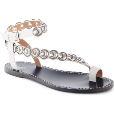 Isabel Marant Ermony Asymmetrical Ankle Strap Sandal, White