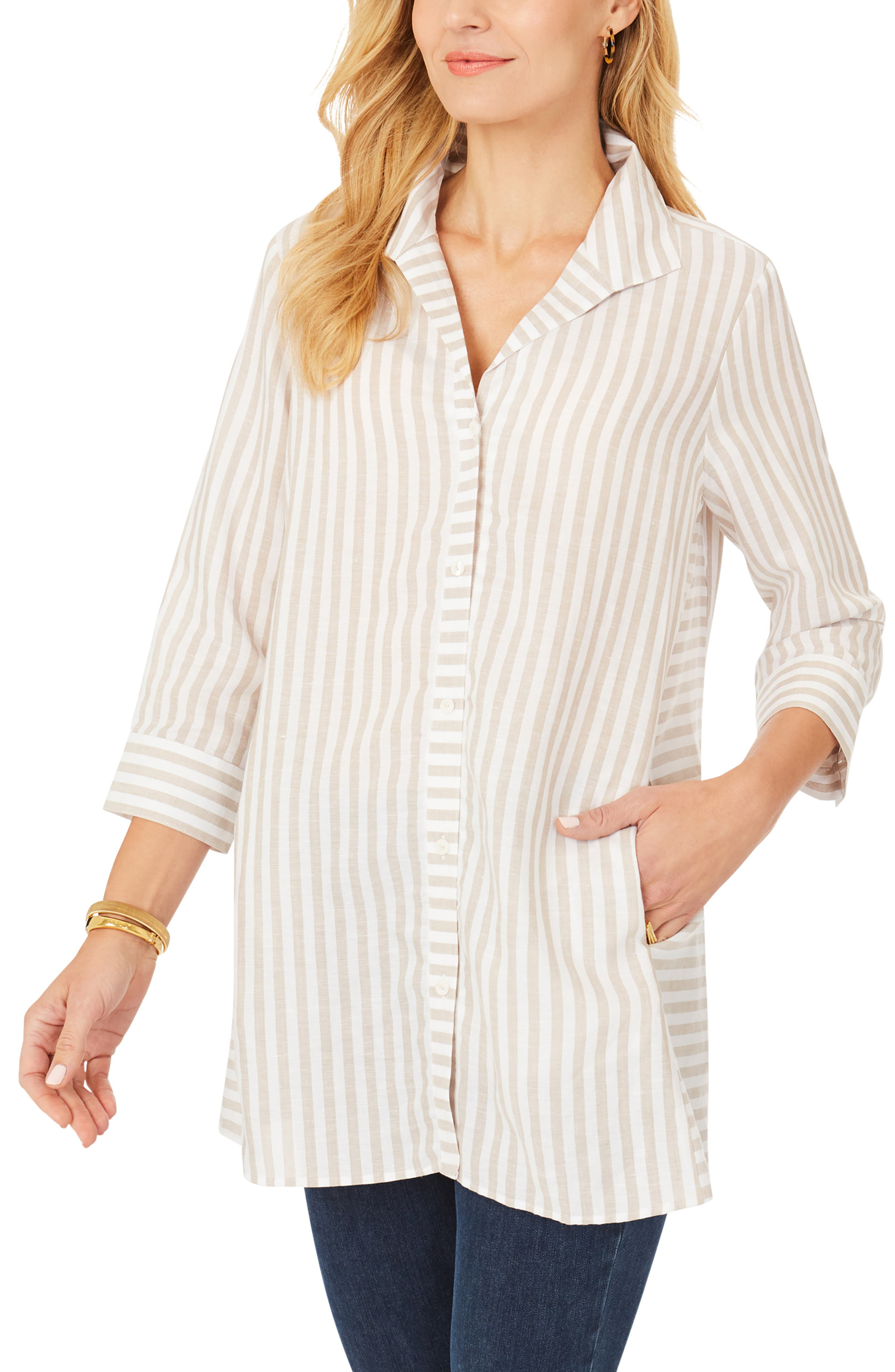 Soraya Stripe Button-Up Top
