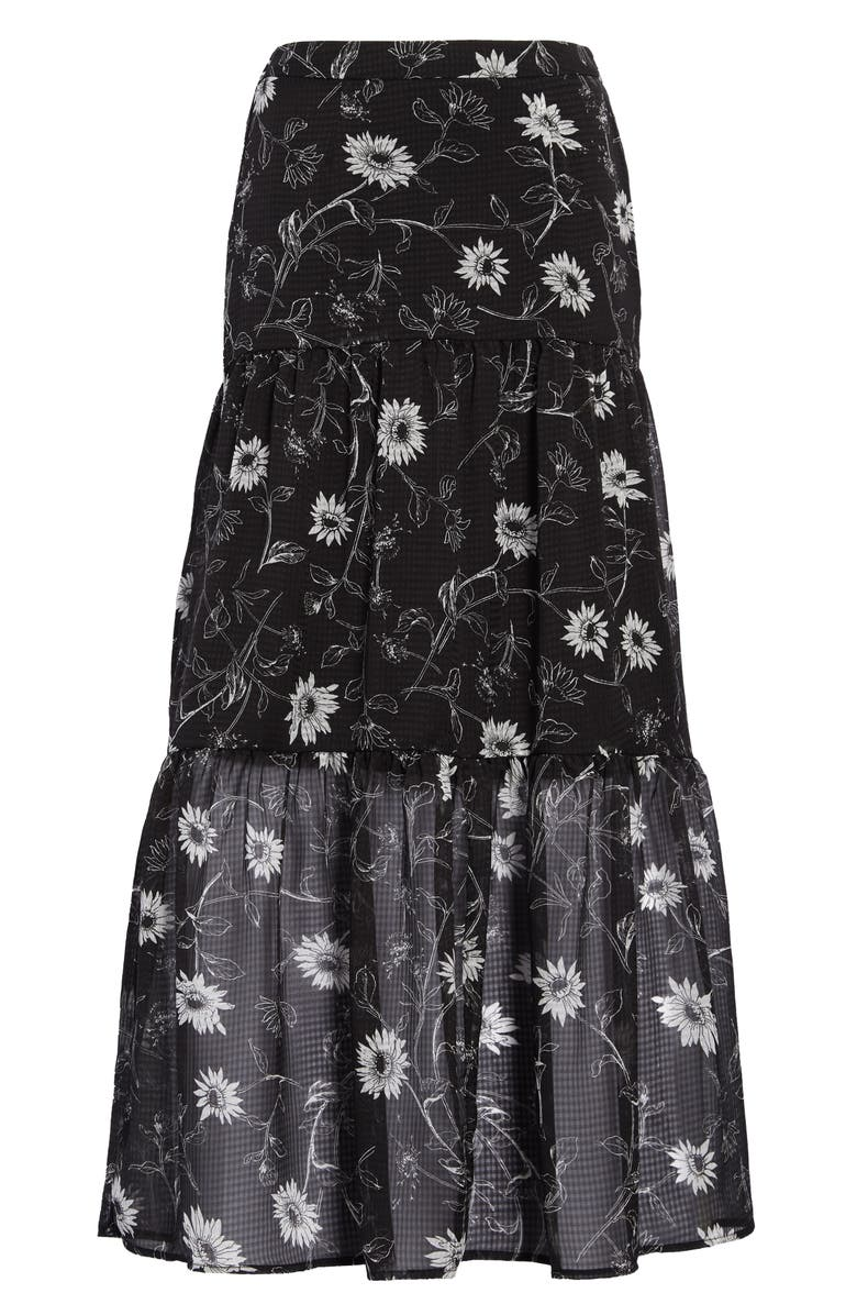 LEITH Tiered Maxi Skirt, Main, color, BLACK DAISY FLORAL DAYS