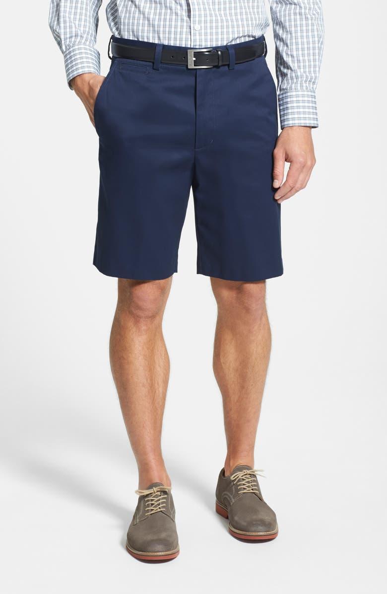 NORDSTROM MEN'S SHOP Smartcare<sup>™</sup> Flat Front Shorts, Main, color, NAVY