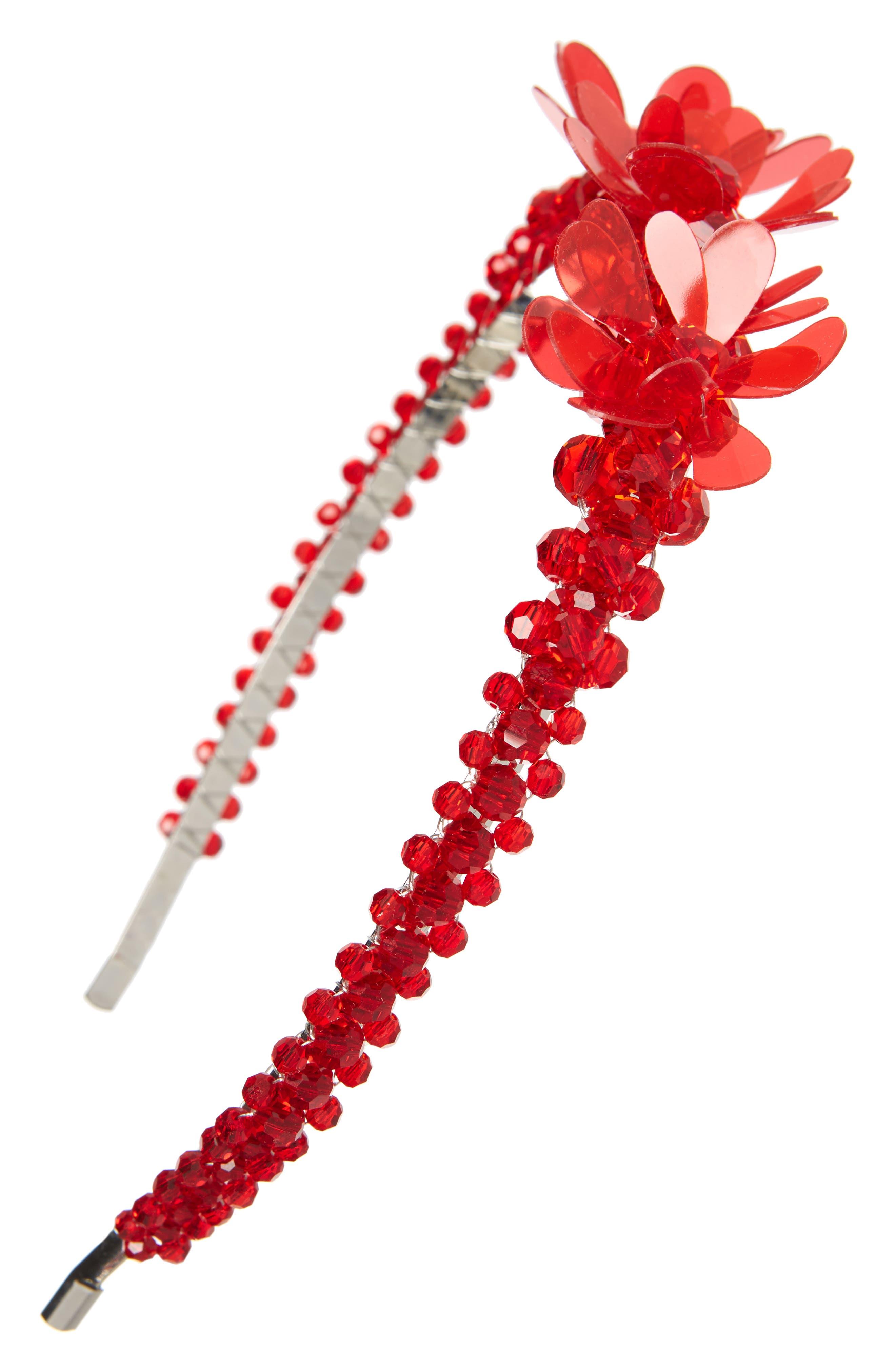 ,                             Crystal Tiara Headband,                             Main thumbnail 1, color,                             RED