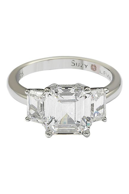 Image of Suzy Levian Sterling Silver Emerald-Cut 3-Stone CZ Bridal Ring
