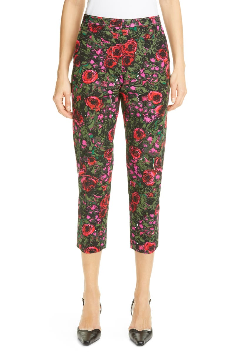 MARNI Amarcord Floral Print Faille Crop Trousers, Main, color, STARLIGHT PINK