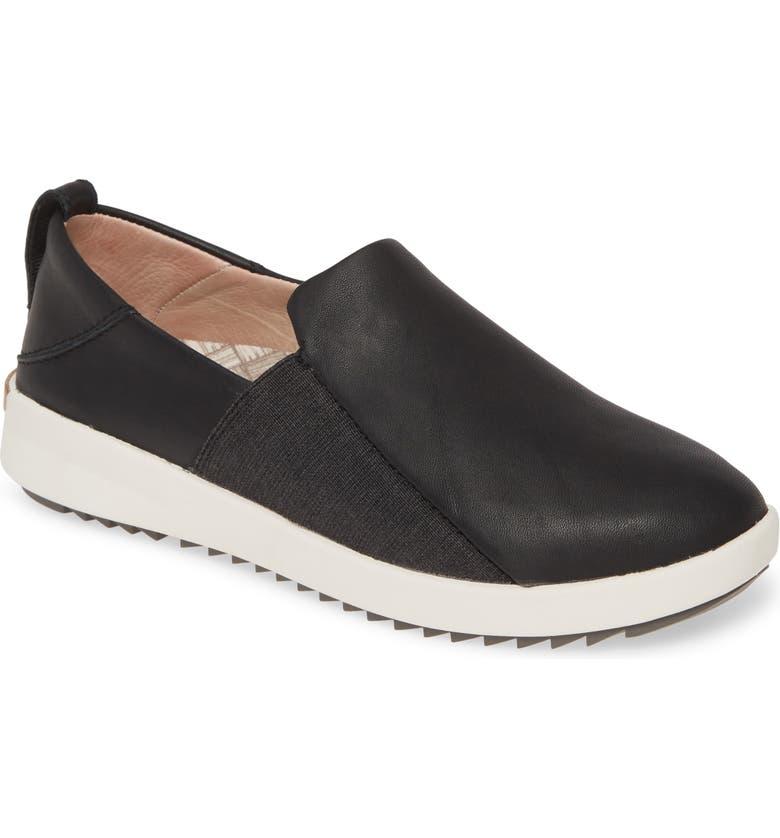 OLUKAI Malua Slip-On Sneaker, Main, color, BLACK LEATHER