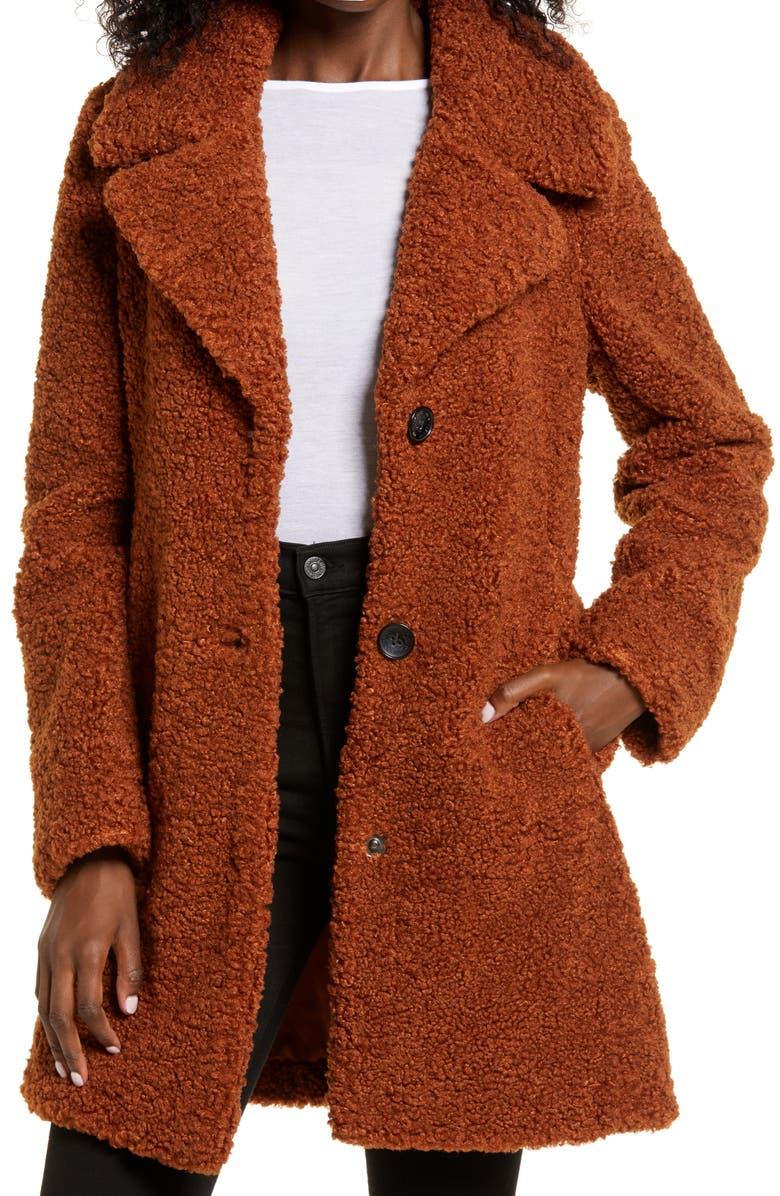 SAM EDELMAN Faux Fur Teddy Coat, Main, color, COGNAC