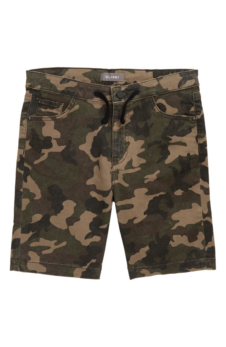 DL1961 Jax Camo Print Denim Shorts, Main, color, THUNDERBIRD