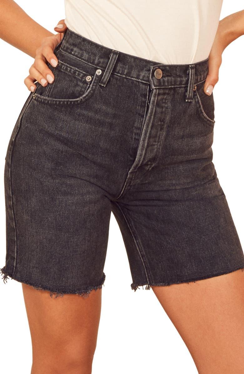 REFORMATION Allie Cutoff Denim Shorts, Main, color, 001