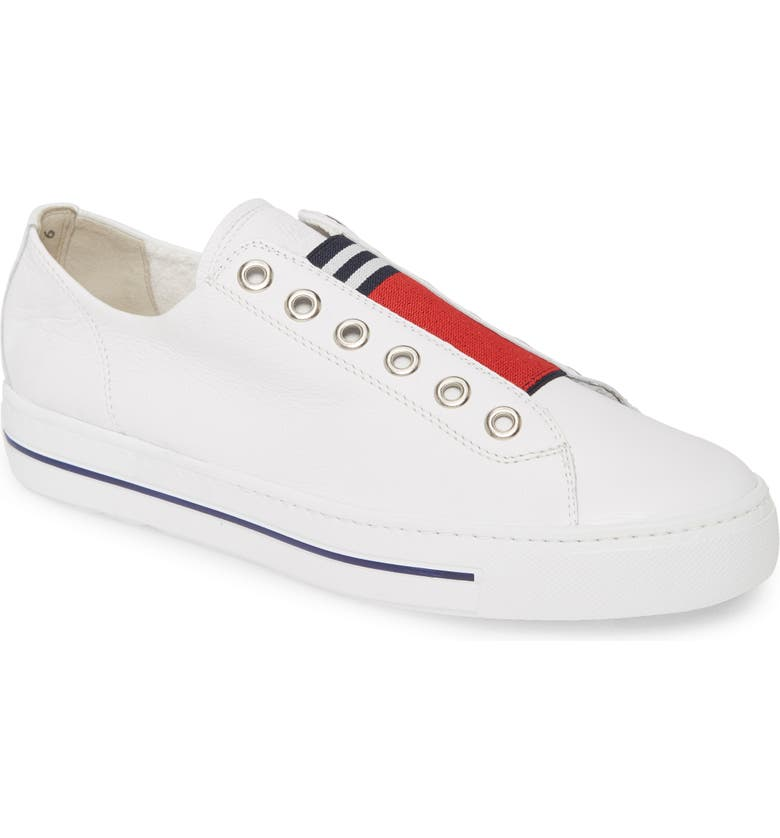 PAUL GREEN Abby Laceless Sneaker, Main, color, WHITE/ RED LEATHER