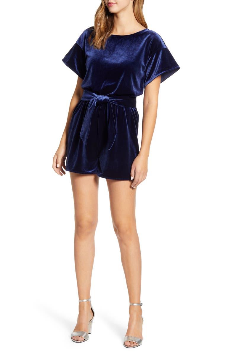 VINEYARD VINES Velvet Short Romper, Main, color, DEEP BAY