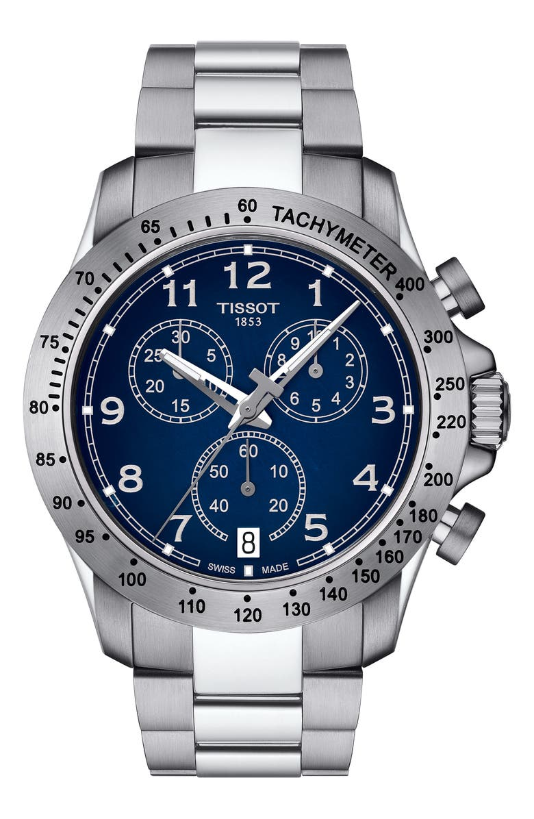 TISSOT V8 Chronograph Bracelet Watch, 42.5mm, Main, color, SILVER/ BLUE/ SILVER