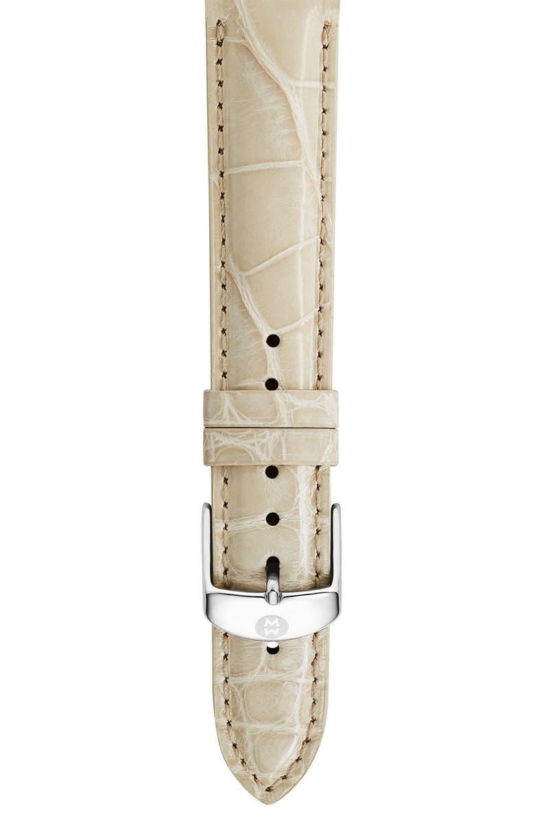 MICHELE 16mm Genuine Alligator Watch Strap, Main, color, BONE
