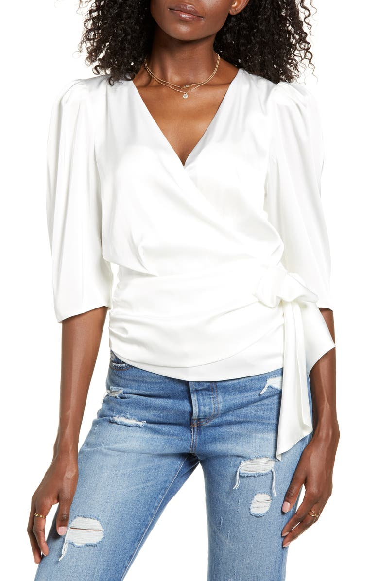 WAYF Ullah Wrap Front Blouse, Main, color, IVORY