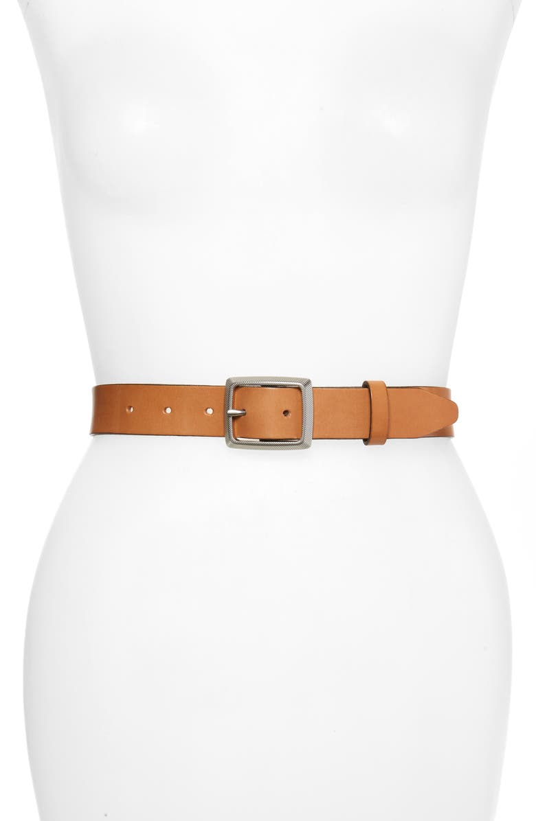 RAG & BONE Boyfriend Leather Belt, Main, color, CARAMEL