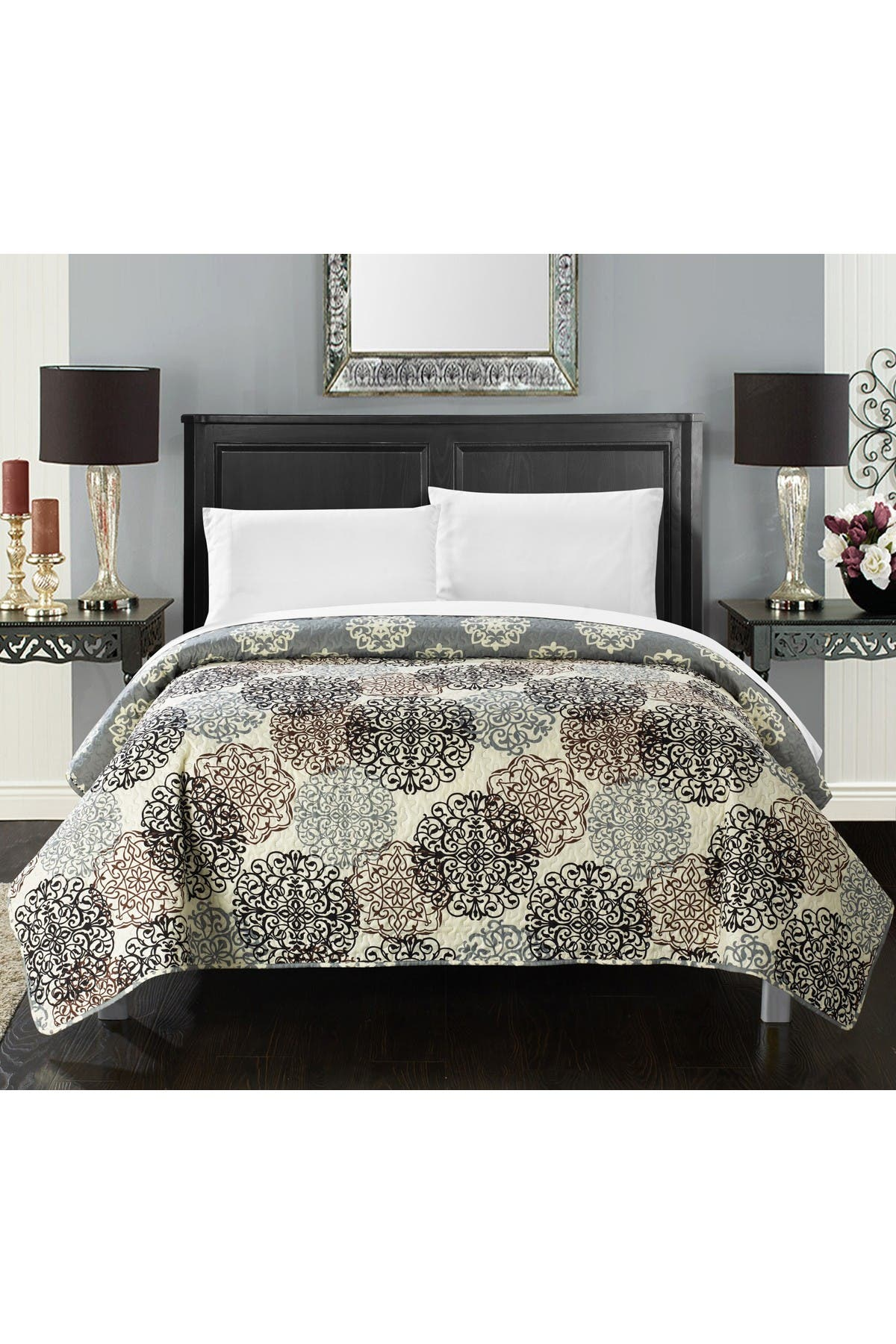 Image of Chic Home Bedding Queen Jennifer Boho Inspired Reversible Quilt - Beige