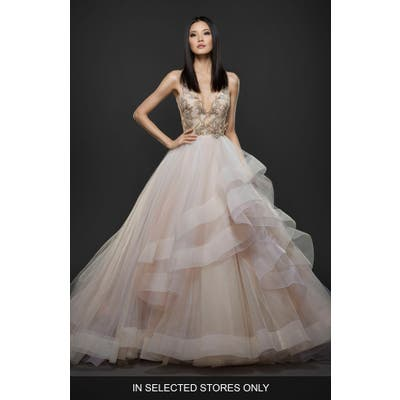 Lazaro Embellished Layered Organza Ballgown, Size IN STORE ONLY - Ivory