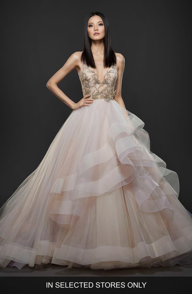 LAZARO Embellished Layered Organza Ballgown, Main, color, TOPAZ