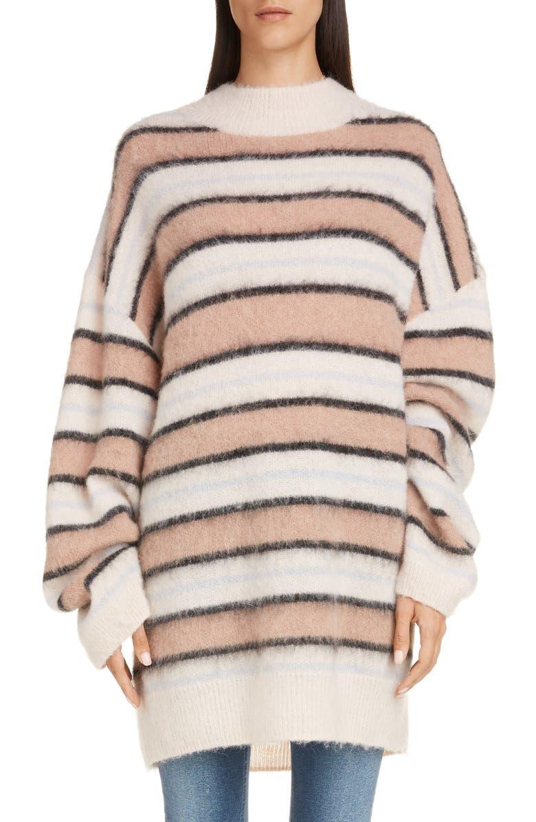 ACNE STUDIOS Karalynn Stripe Oversize Sweater, Main, color, OLD PINK/ MULTI