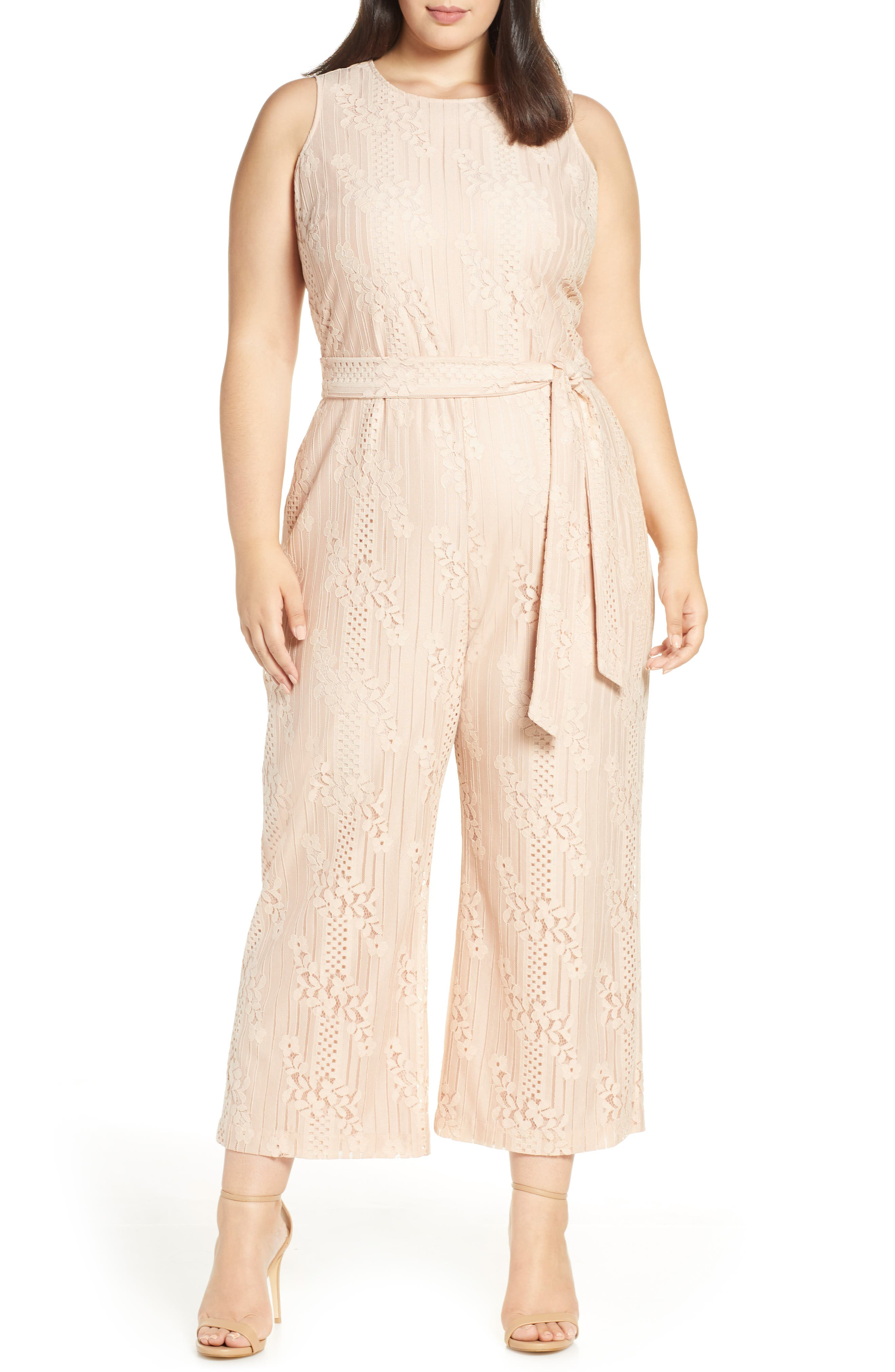 ,                             Lace Belted Jumpsuit,                             Main thumbnail 1, color,                             PEACH BELLINI