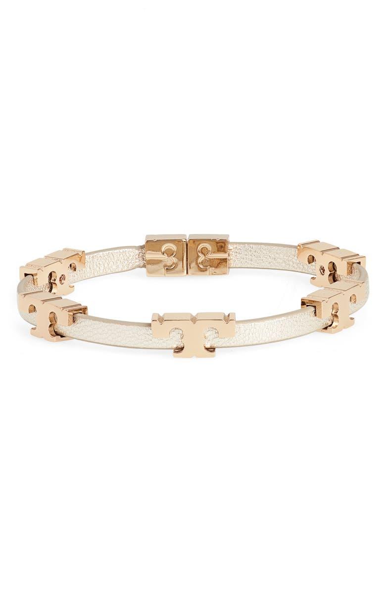 TORY BURCH Serif T Stackable Bracelet, Main, color, TORY GOLD METALLIC